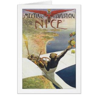 Affiche vintage de voyage, avion au-dessus de la cartes de vœux