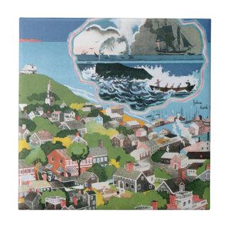 Affiche vintage de voyage, carte de l'île de petit carreau carré