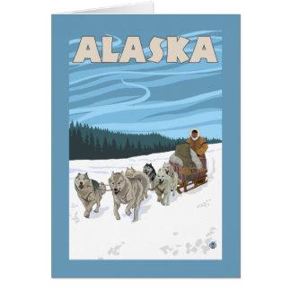 Affiche vintage de voyage d'AlaskaDogsledding Carte De Vœux