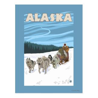 Affiche vintage de voyage d'AlaskaDogsledding Cartes Postales