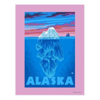 Affiche vintage de voyage d'AlaskaIceberg Cartes Postales