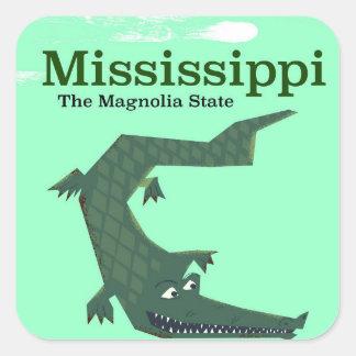 Affiche vintage de voyage d'alligator du sticker carré
