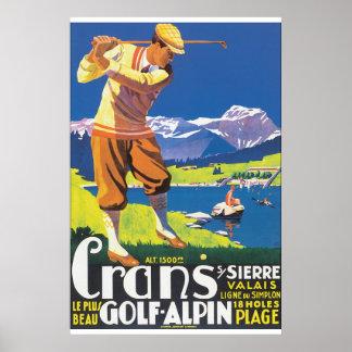Affiche vintage de voyage d'Alpin de golf Posters