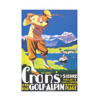 Affiche vintage de voyage d'Alpin de golf Toiles