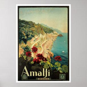 Affiche vintage de voyage d'Amalfi, Italie