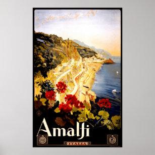 Affiche vintage de voyage d'Amalfi Italie