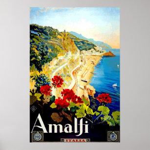 Affiche vintage de voyage d'Amalfi Italie l'Europe