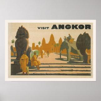 Affiche vintage de voyage d'Angkor Vat Cambodge Poster