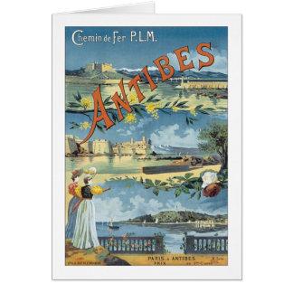 Affiche vintage de voyage d'Antibes Carte De Vœux