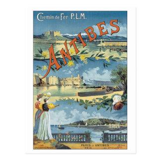 Affiche vintage de voyage d'Antibes Carte Postale
