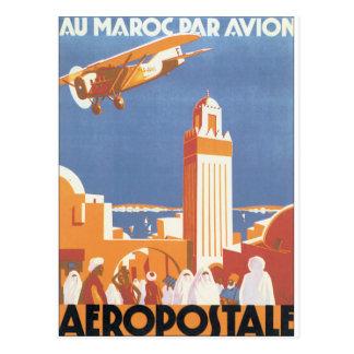 Affiche vintage de voyage d'Avion de pair de Maroc Cartes Postales