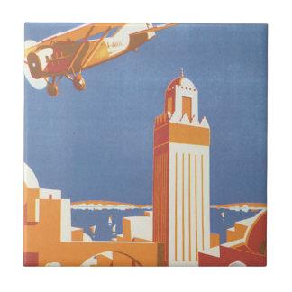 Affiche vintage de voyage d'Avion de pair de Maroc Petit Carreau Carré