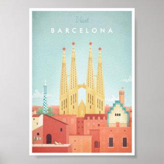Affiche vintage de voyage de Barcelone Poster