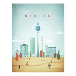 Affiche vintage de voyage de Berlin - carte