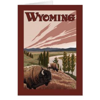 Affiche vintage de voyage de bison de la rivière carte de vœux