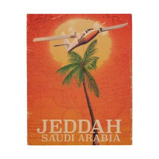 Affiche vintage de voyage de carte de Jeddah Impression Sur Bois