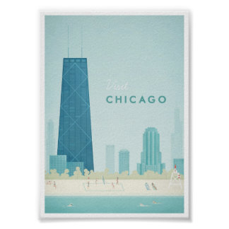 Affiche vintage de voyage de Chicago Posters