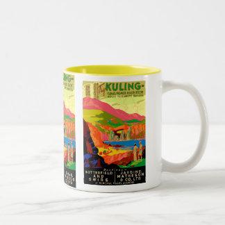Affiche vintage de voyage de Chinois de Kuling Tasse 2 Couleurs
