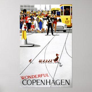 Affiche vintage de voyage de Copenhague