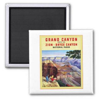 Affiche vintage de voyage de ~ de canyon grand magnet carré