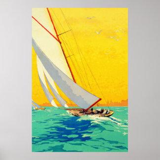 Affiche vintage de voyage de Français de bateaux à