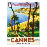 Affiche vintage de voyage de Français de Cannes Carte Postale