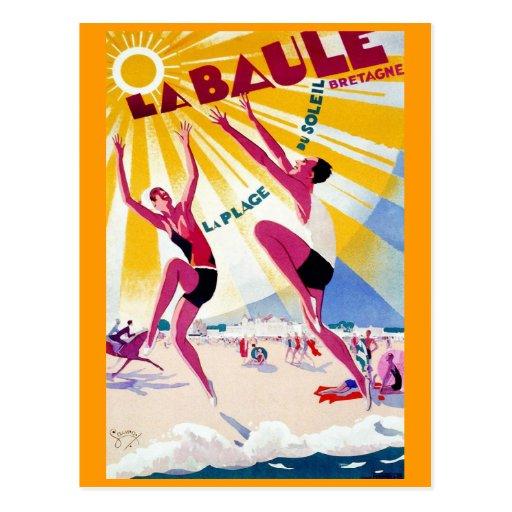 """Affiche vintage de voyage de Français de """"La Baule Carte Postale"""
