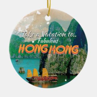 Affiche vintage de voyage de Hong Kong Ornement Rond En Céramique
