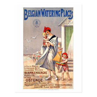 Affiche vintage de voyage de la Belgique Ostende Carte Postale