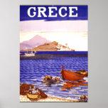 Affiche vintage de voyage de la Grèce