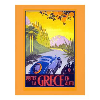 Affiche vintage de voyage de la Grèce sur des cart Prospectus