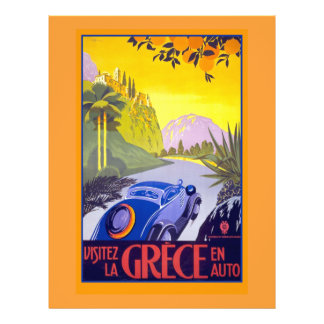 Affiche vintage de voyage de la Grèce sur des cart Prospectus 21,6 Cm X 24,94 Cm