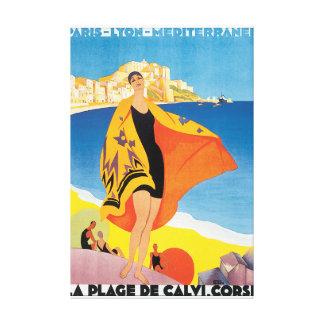 Affiche vintage de voyage de la plage De Calvi Toiles