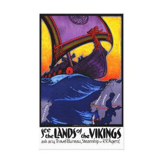 Affiche vintage de voyage de la Scandinavie Toiles