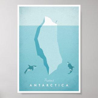 Affiche vintage de voyage de l'Antarctique Poster