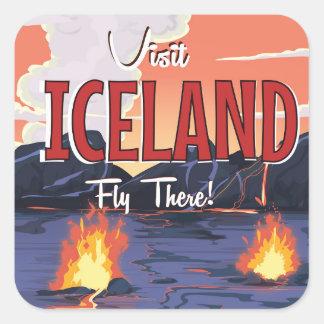Affiche vintage de voyage de l'Islande de visite Sticker Carré