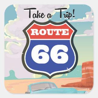 Affiche vintage de voyage de l'itinéraire 66 sticker carré