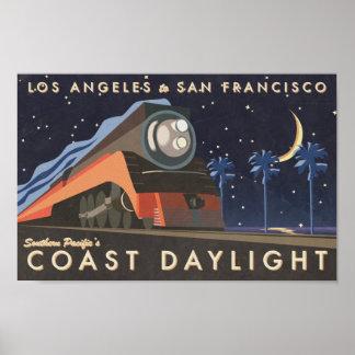 Affiche vintage de voyage de lumière du jour posters