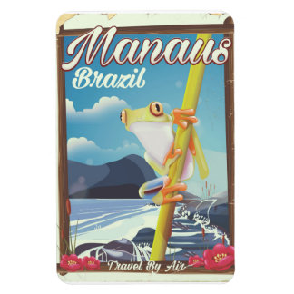 Affiche vintage de voyage de Manaus Brésil Magnet Flexible