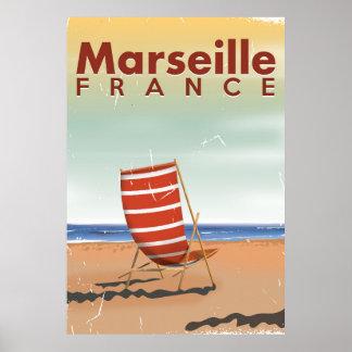 Affiche vintage de voyage de Marseille France