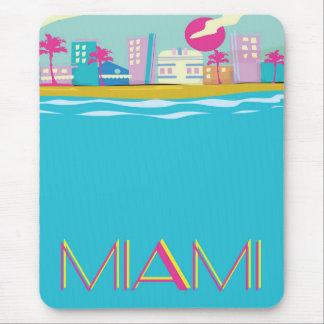Affiche vintage de voyage de Miami des années 1980 Tapis De Souris