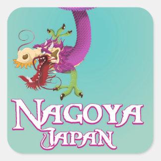Affiche vintage de voyage de Nagoya Japon Sticker Carré