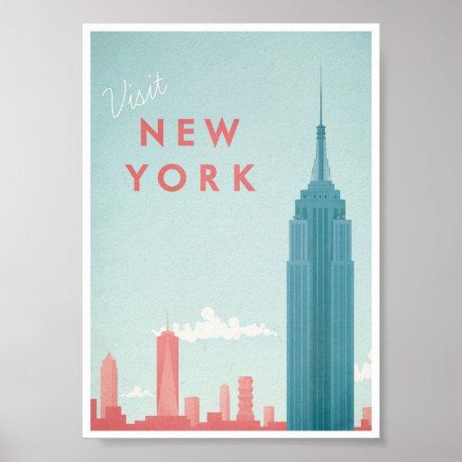 affiche vintage de voyage de new york posters zazzle. Black Bedroom Furniture Sets. Home Design Ideas
