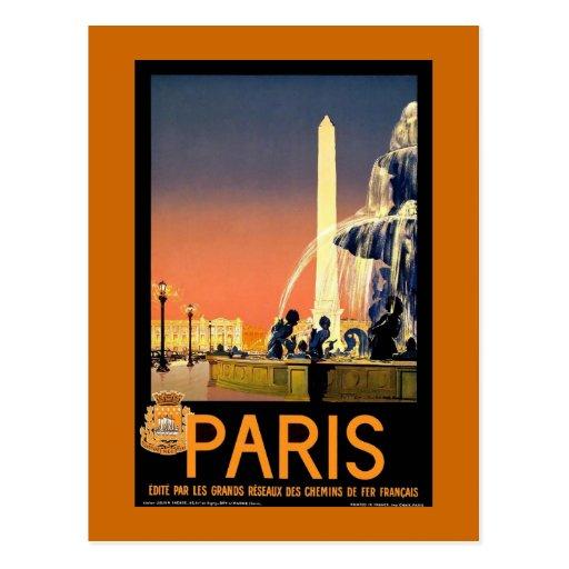 """Affiche vintage de voyage de """"Paris"""" Cartes Postales"""