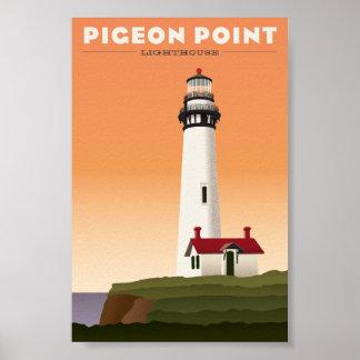 Affiche vintage de voyage de phare de point de pig posters