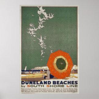 Affiche vintage de voyage de plages de Duneland Poster