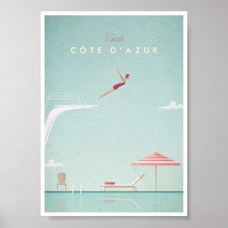Affiche vintage de voyage de plongée de d'Azur de