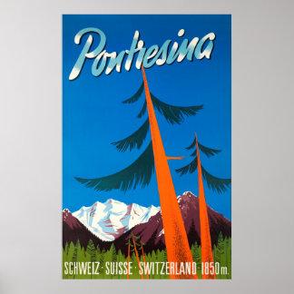 Affiche vintage de voyage de Pontresina Suisse Poster