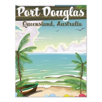 Affiche vintage de voyage de Port Douglas Carton D'invitation 10,79 Cm X 13,97 Cm