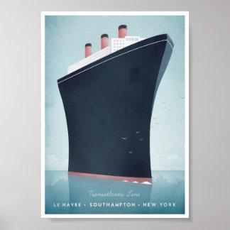 Affiche vintage de voyage de revêtement d'océan poster